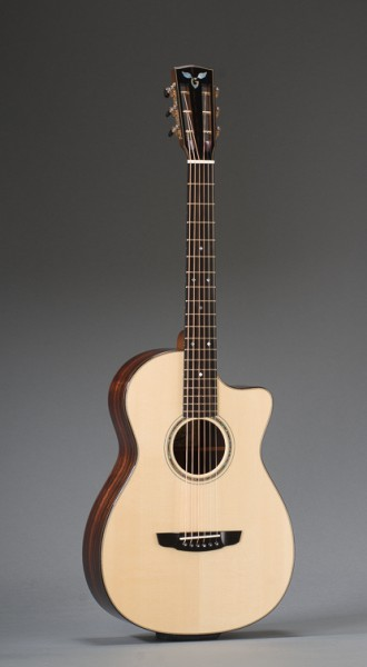 12-Fret Macassar Ebony Parlor Cutaway With Engelmann Spruce Top And Ebony Binding, Slotted Peghead, Paua Shell Rosette