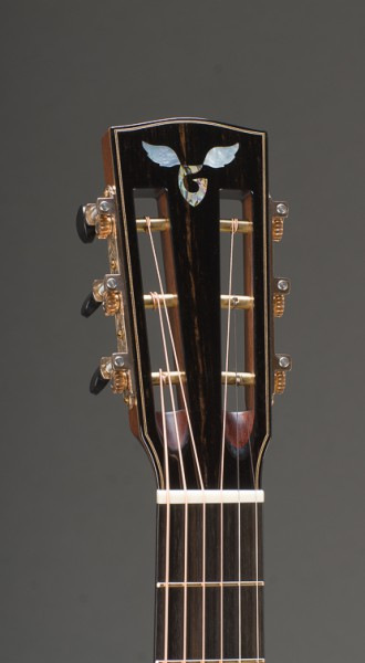 12-Fret Macassar Ebony Parlor Cutaway With Engelmann Spruce Top And Ebony Binding, Slotted Peghead, Waverly Bronze Patina Tuners With Ebony Buttons