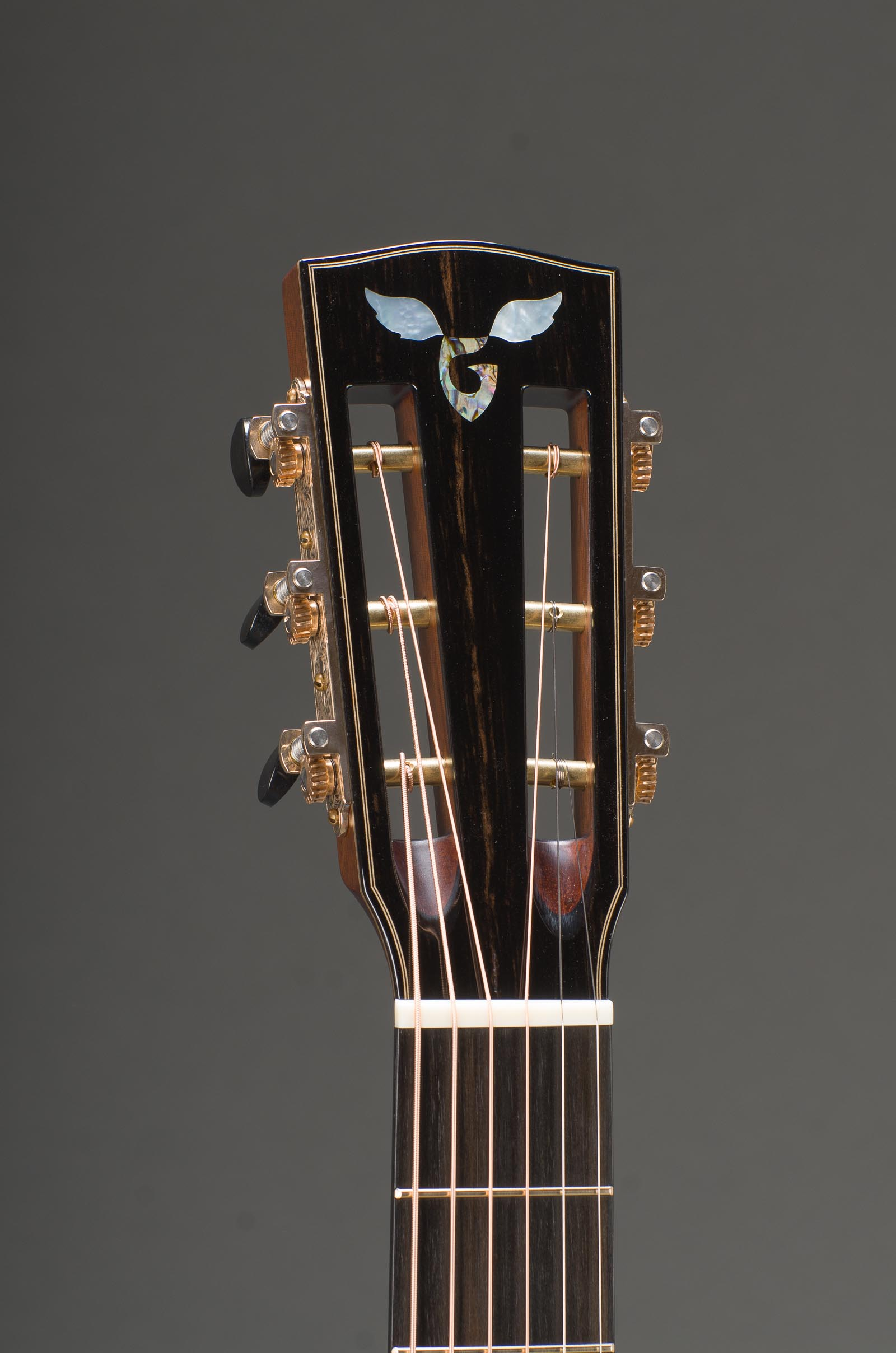 12-Fret Macassar Ebony Parlor Cutaway With Engelmann Spruce Top And Ebony Binding, Slotted Peghead Option, Waverly Bronze Patina Tuners With Ebony Buttons