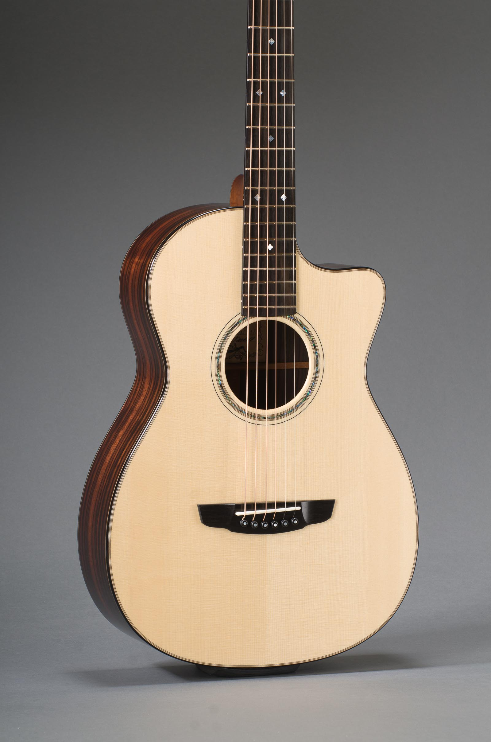 12-Fret Macassar Ebony Parlor Cutaway With Engelmann Spruce Top And Ebony Binding, Slotted Peghead Option, Paua Shell Rosette
