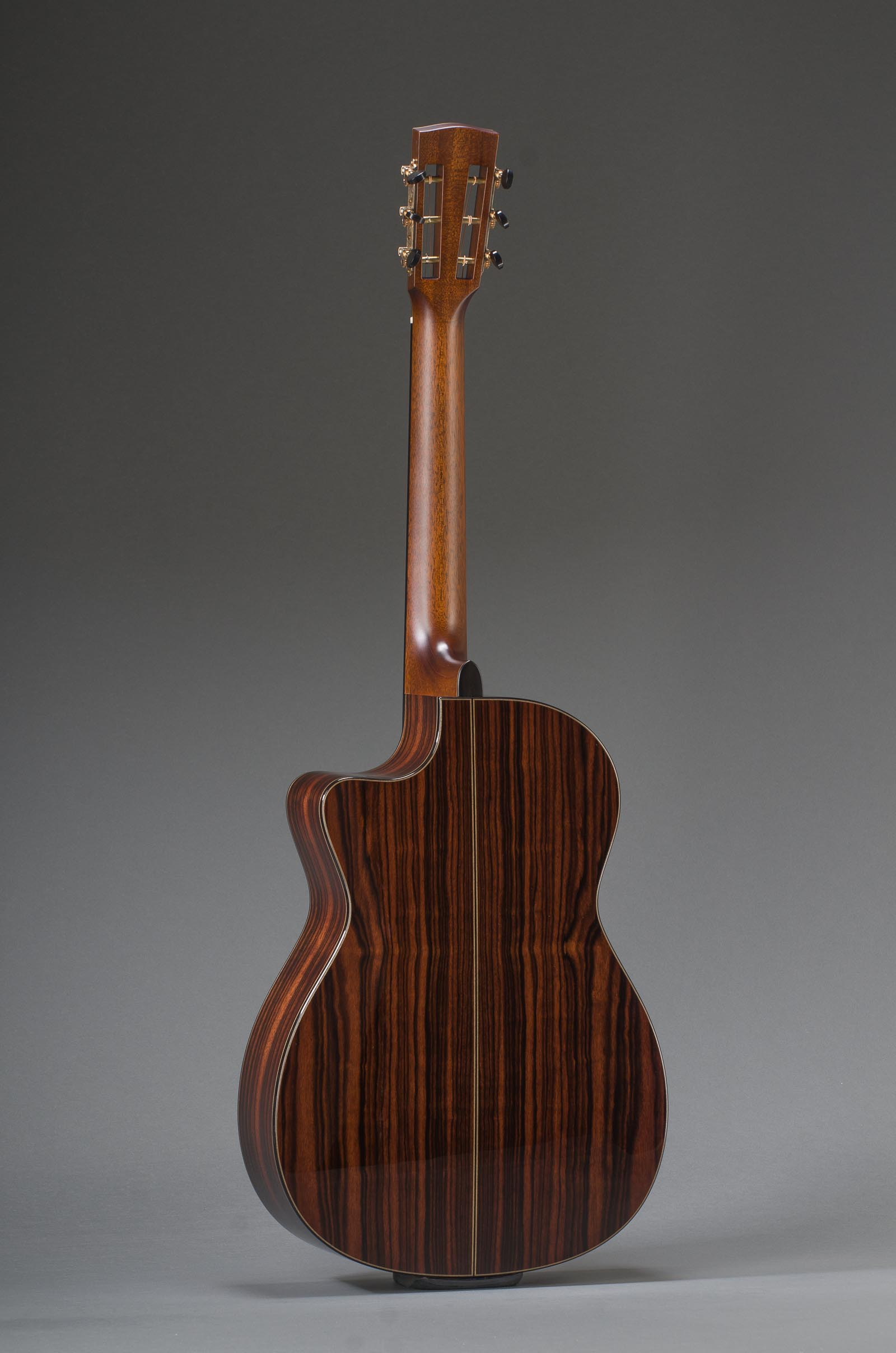 12-Fret Macassar Ebony Parlor Cutaway With Engelmann Spruce Top And Ebony Binding, Slotted Peghead Option