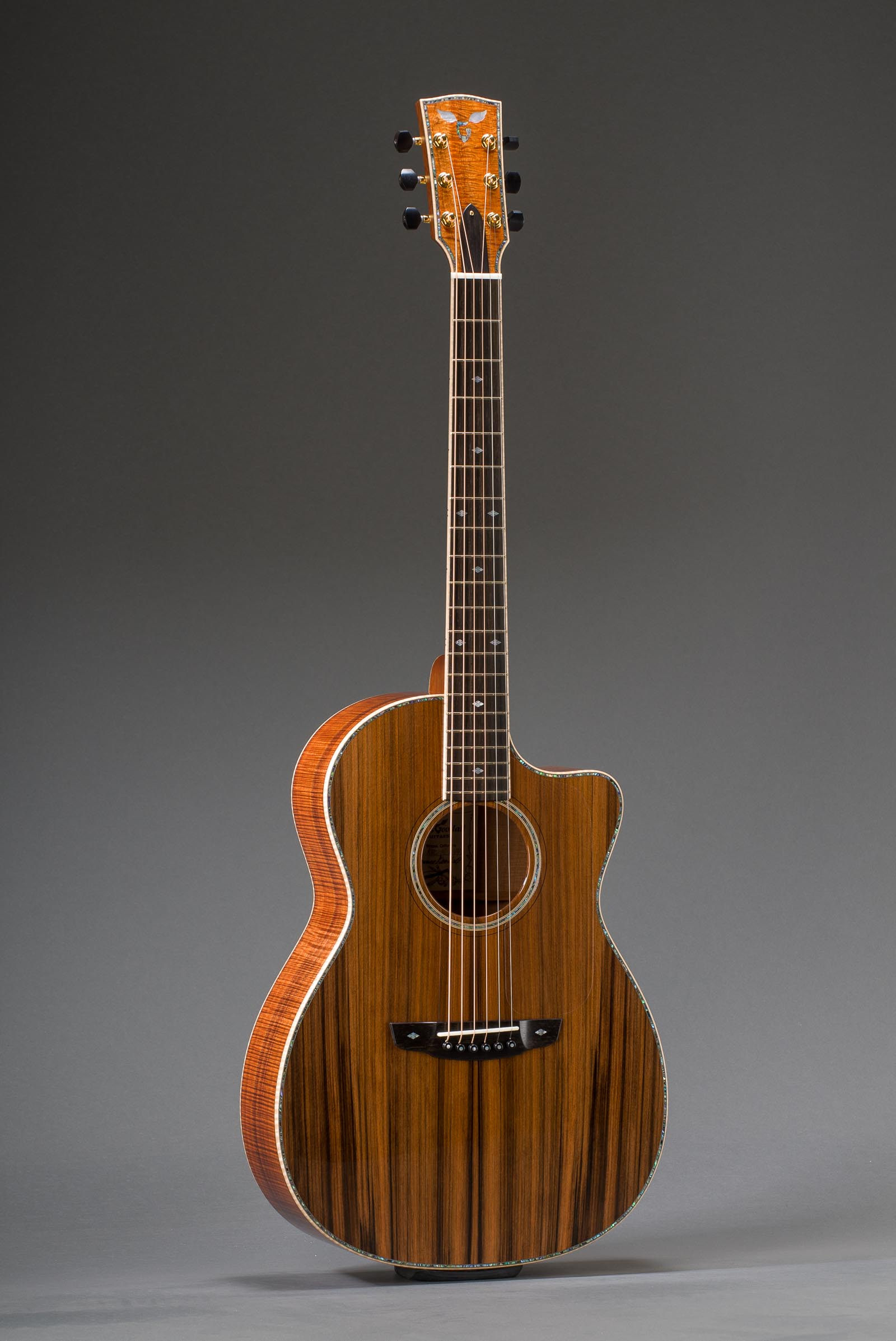 14-Fret Parlor - Figured Hawaiian Koa with Sinker Redwood Top, Fancy Paua Rosette, & Curly Maple Binding - Including Matching Fretboard Option, Fancy Paua Top Inlay Option