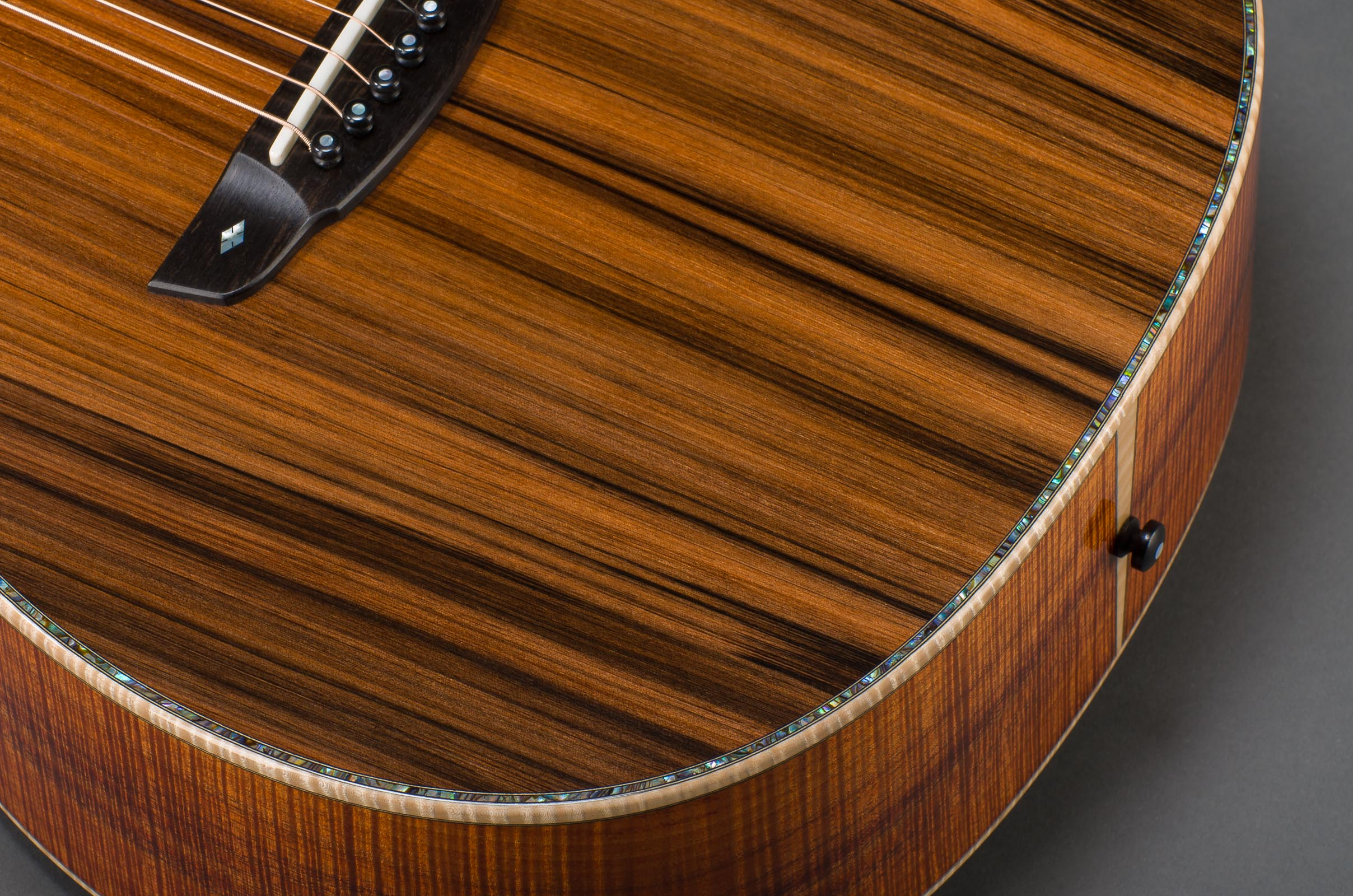 "Customized ""Signature"" Series Styling End Graft on 14-Fret Parlor, Fancy Paua Rosette - Matching Top Border Inlay Option, Curly Maple Binding"