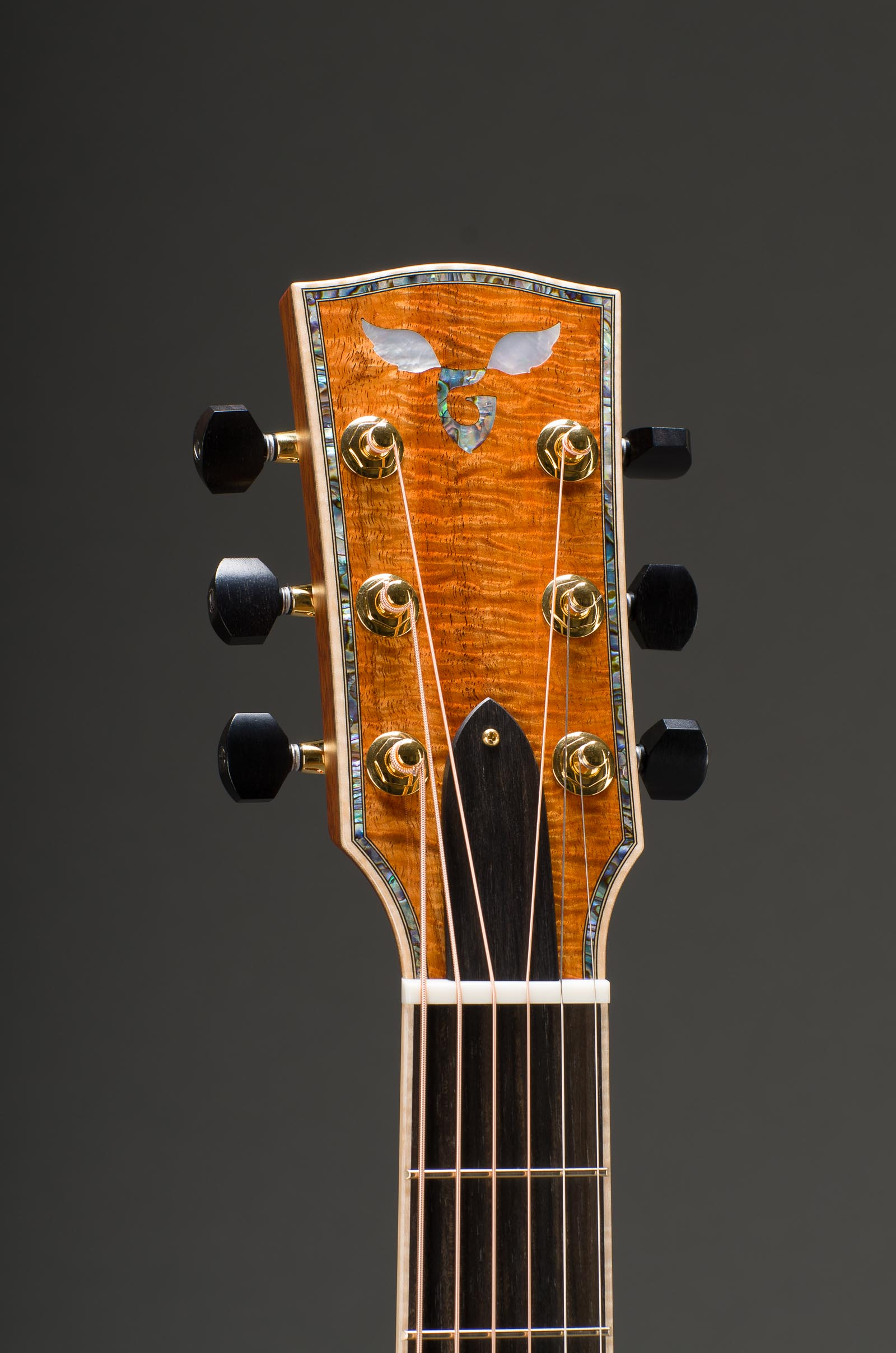 14-Fret Parlor Size Peghead - Figured Hawaiian Koa Veneer, Fancy Paua G - MOP Wings, & Curly Maple Binding- Including Matching Fretboard Option, Fancy Paua Peghead Border Inlay Option, Gold Gotoh 510 Mini Tuners with Ebony Buttons