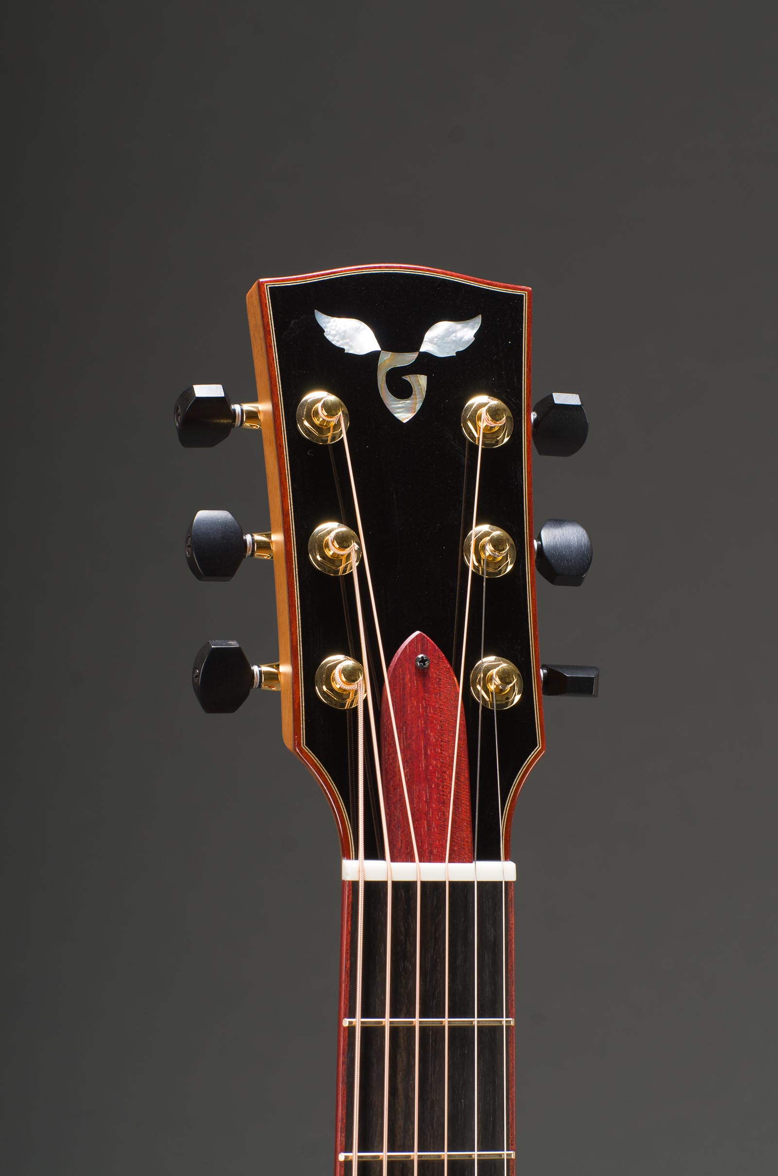 14-Fret Parlor - All Ribbon Mahogany Including Top, Fancy Abalone Rosette, & Bloodwood Binding - Including Matching Fretboard Option, Fancy G - MOP Wings, Gold Gotoh 510 Mini Tuners with Ebony Buttons