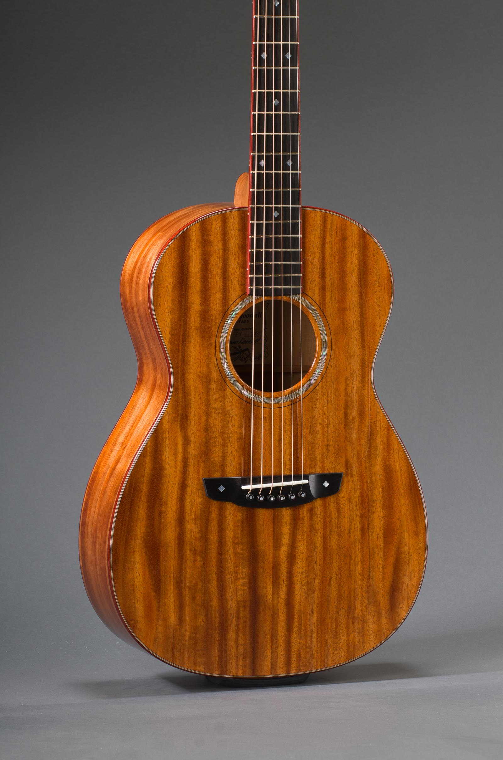 14-Fret Parlor - All Ribbon Mahogany Including Top, Fancy Abalone Rosette, & Bloodwood Binding - Including Matching Fretboard Option, Fancy Abalone Rosette